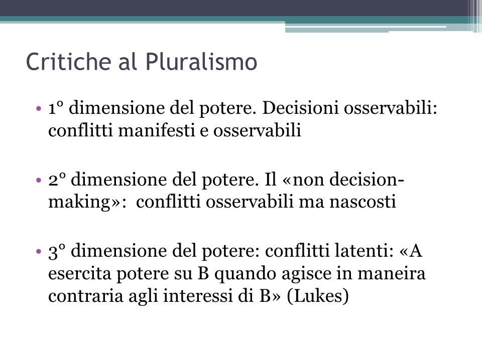 Critiche al Pluralismo 1° dimensione del potere. Decisioni osservabili: conflitti manifesti e osservabili 2° dimensione del potere. Il «non decision-