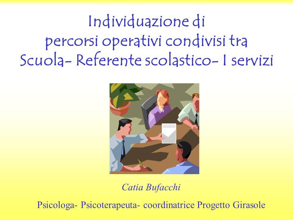 Individuazione di percorsi operativi condivisi tra Scuola- Referente scolastico- I servizi Catia Bufacchi Psicologa- Psicoterapeuta- coordinatrice Progetto Girasole