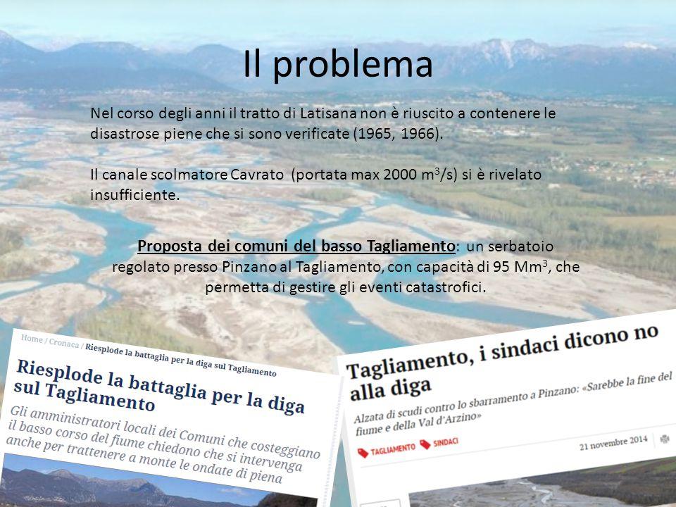Il problema Proposta dei comuni del basso Tagliamento : un serbatoio regolato presso Pinzano al Tagliamento, con capacità di 95 Mm 3, che permetta di