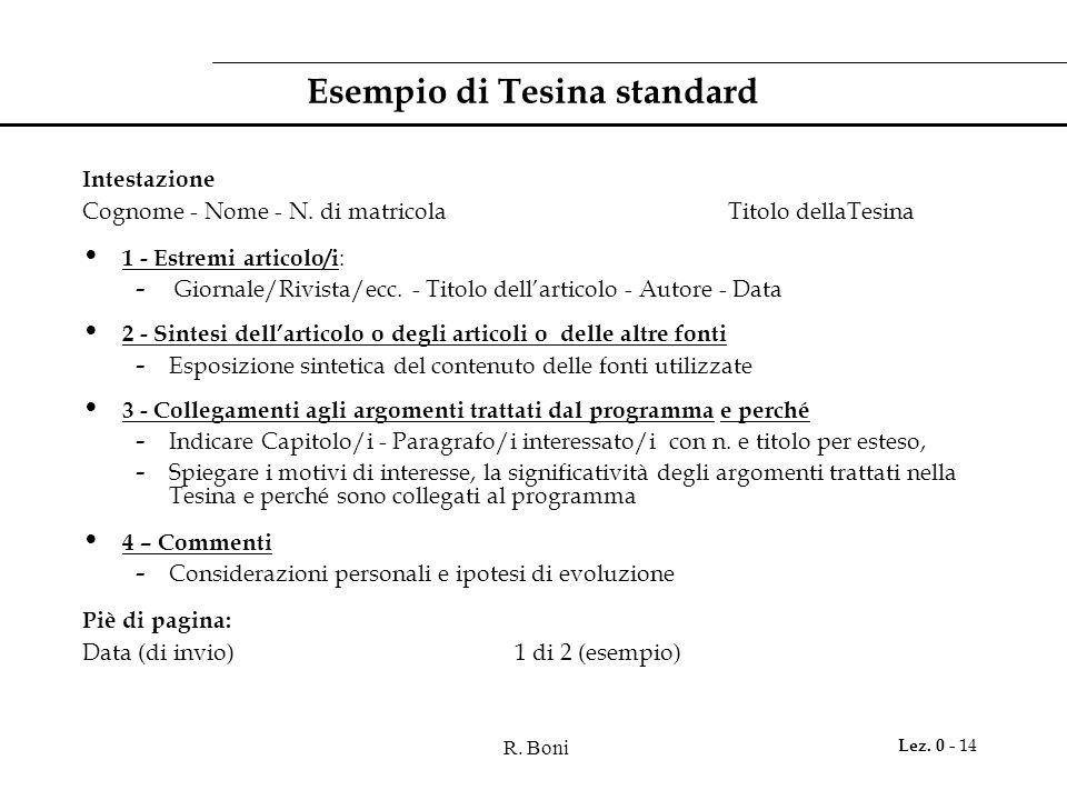 R. Boni Lez. 0 - 14 Esempio di Tesina standard Intestazione Cognome - Nome - N. di matricola Titolo dellaTesina 1 - Estremi articolo/i : - Giornale/Ri