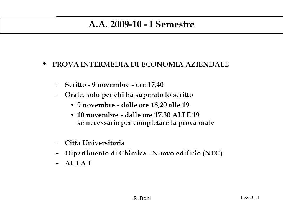 R. Boni Lez. 0 - 4 A.A. 2009-10 - I Semestre PROVA INTERMEDIA DI ECONOMIA AZIENDALE - Scritto - 9 novembre - ore 17,40 - Orale, solo per chi ha supera