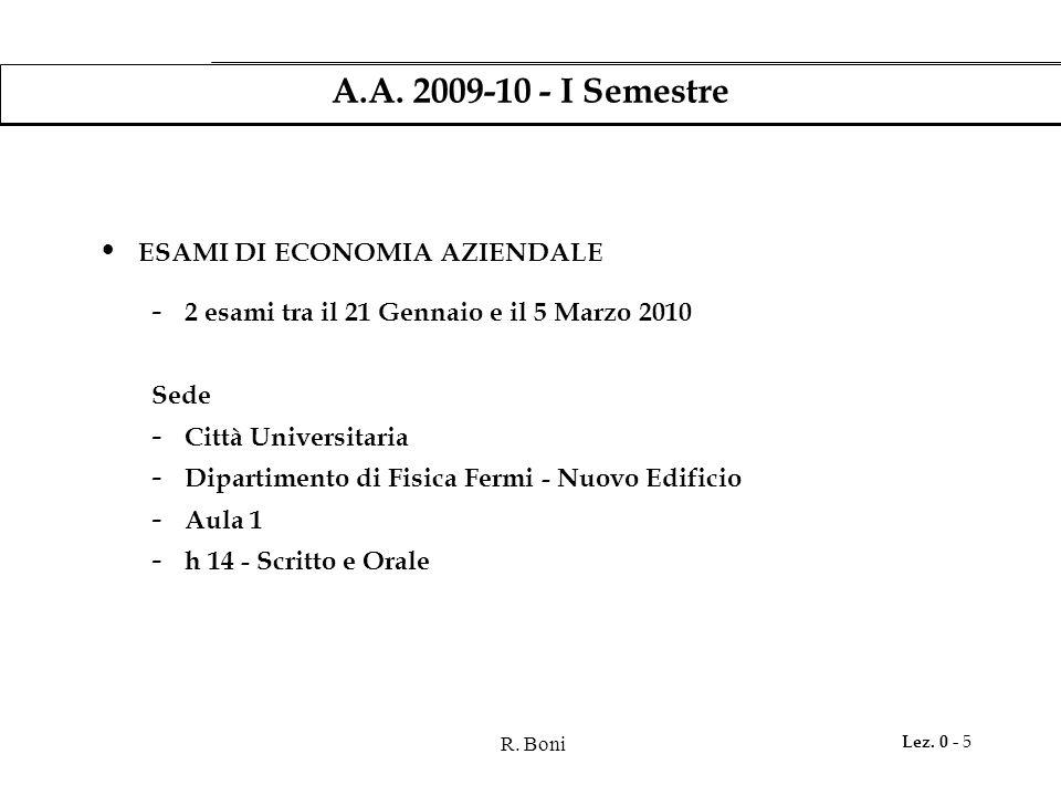 R. Boni Lez. 0 - 5 A.A. 2009-10 - I Semestre ESAMI DI ECONOMIA AZIENDALE - 2 esami tra il 21 Gennaio e il 5 Marzo 2010 Sede - Città Universitaria - Di