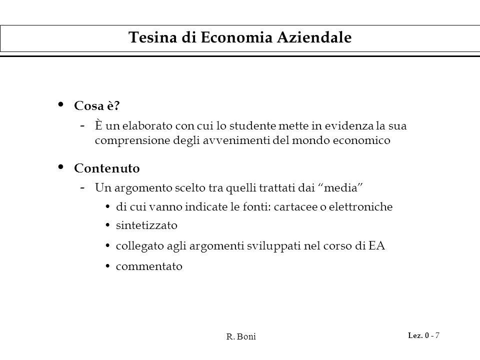 R. Boni Lez. 0 - 7 Tesina di Economia Aziendale Cosa è? - È un elaborato con cui lo studente mette in evidenza la sua comprensione degli avvenimenti d