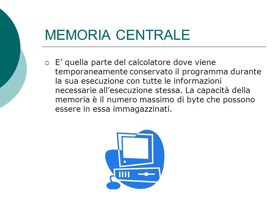 MEMORIA CENTRALE  E' quella parte del calcolatore dove viene temporaneamente conservato il programma durante la sua esecuzione con tutte le informazioni necessarie all'esecuzione stessa.