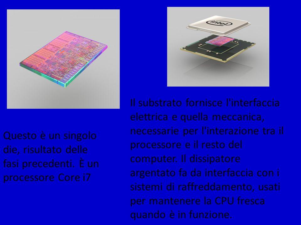 Questo è un singolo die, risultato delle fasi precedenti. È un processore Core i7 Il substrato fornisce l'interfaccia elettrica e quella meccanica, ne