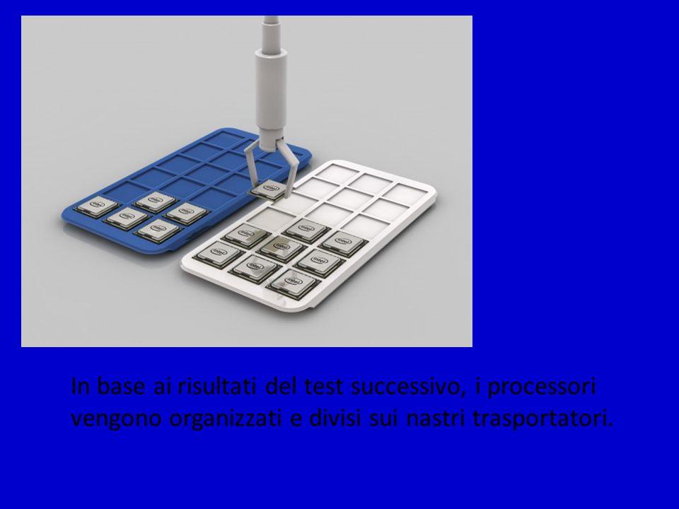 In base ai risultati del test successivo, i processori vengono organizzati e divisi sui nastri trasportatori.