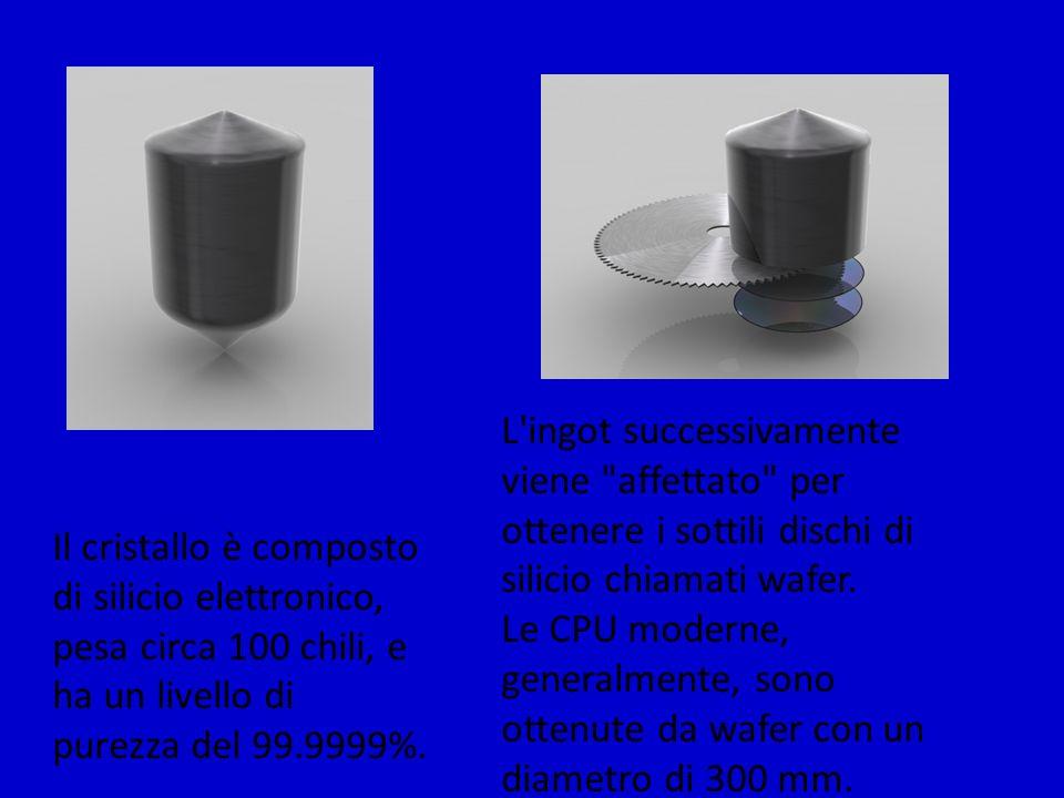 Una volta tagliati i wafer vengono ripuliti fino a che non sono del tutto privi di difetti Il liquido blu è fotoresistente, e viene distribuito sul wafer in rotazione, per assicurarsi che la distribuzione sia uniforme e sottile.