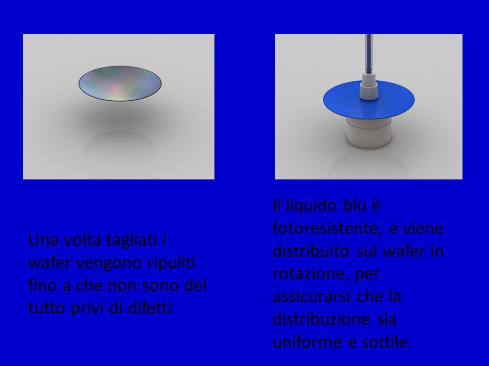 Una volta tagliati i wafer vengono ripuliti fino a che non sono del tutto privi di difetti Il liquido blu è fotoresistente, e viene distribuito sul wa
