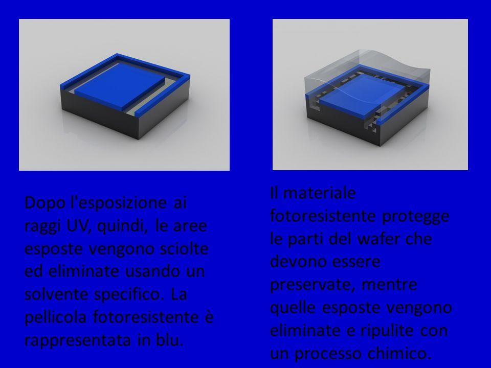Dopo l'esposizione ai raggi UV, quindi, le aree esposte vengono sciolte ed eliminate usando un solvente specifico. La pellicola fotoresistente è rappr