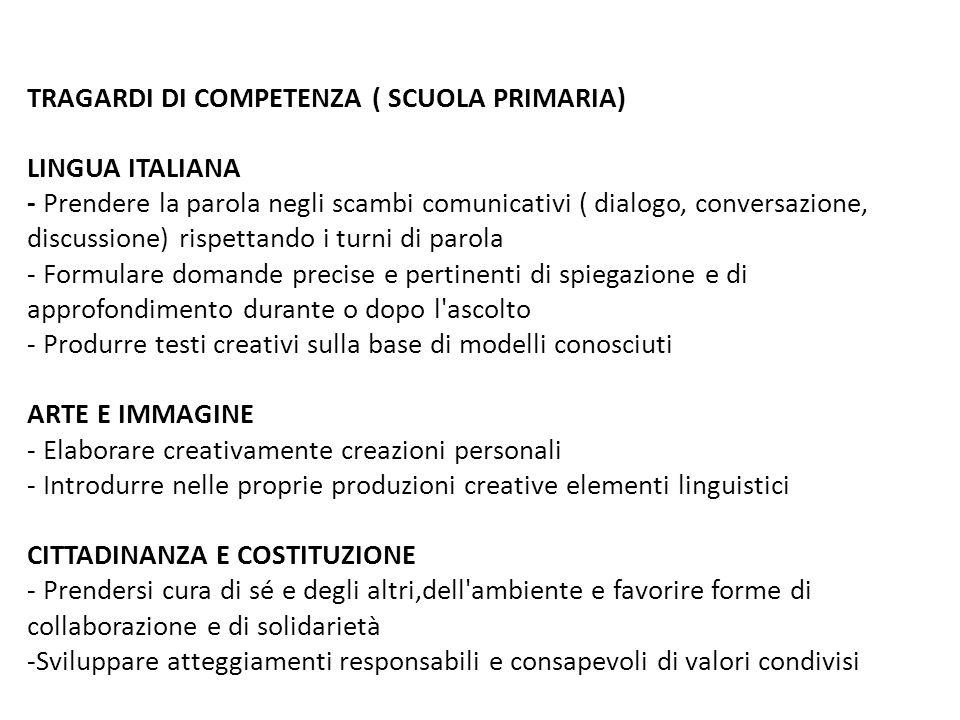 TRAGARDI DI COMPETENZA ( SCUOLA PRIMARIA) LINGUA ITALIANA - Prendere la parola negli scambi comunicativi ( dialogo, conversazione, discussione) rispet