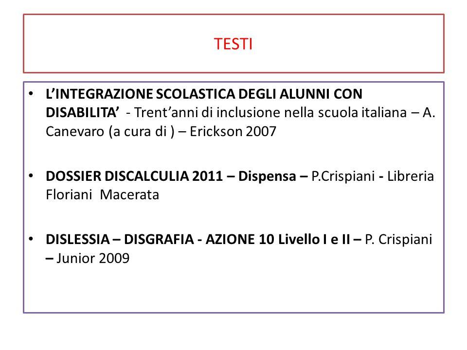 TESTI L'INTEGRAZIONE SCOLASTICA DEGLI ALUNNI CON DISABILITA' - Trent'anni di inclusione nella scuola italiana – A. Canevaro (a cura di ) – Erickson 20
