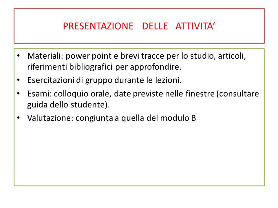 PRESENTAZIONE DELLE ATTIVITA' Materiali: power point e brevi tracce per lo studio, articoli, riferimenti bibliografici per approfondire. Esercitazioni