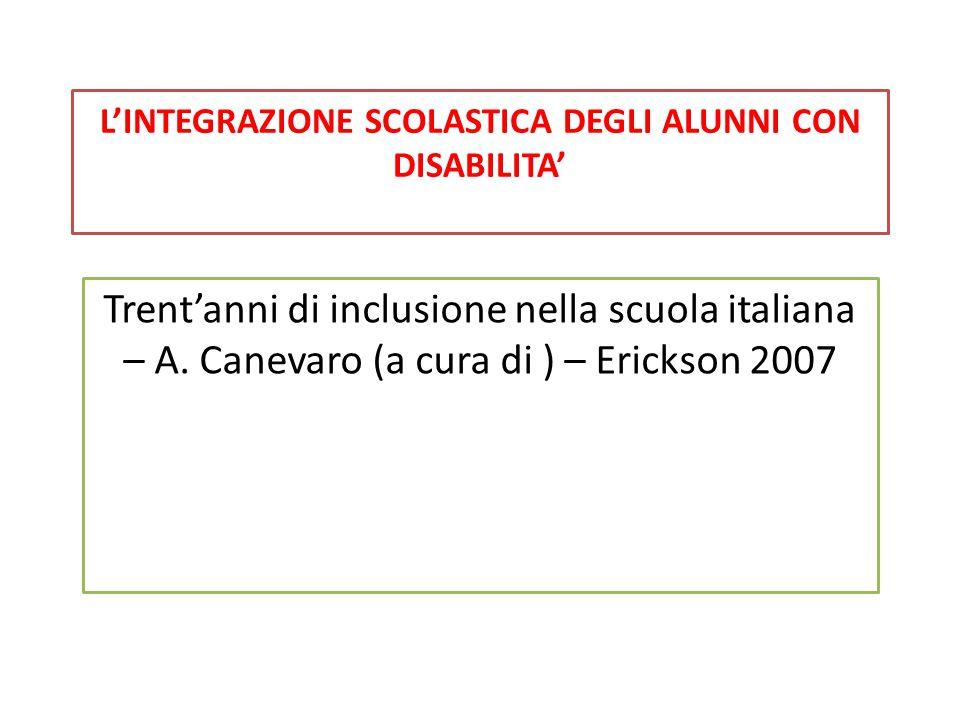 L'INTEGRAZIONE SCOLASTICA DEGLI ALUNNI CON DISABILITA' Trent'anni di inclusione nella scuola italiana – A. Canevaro (a cura di ) – Erickson 2007
