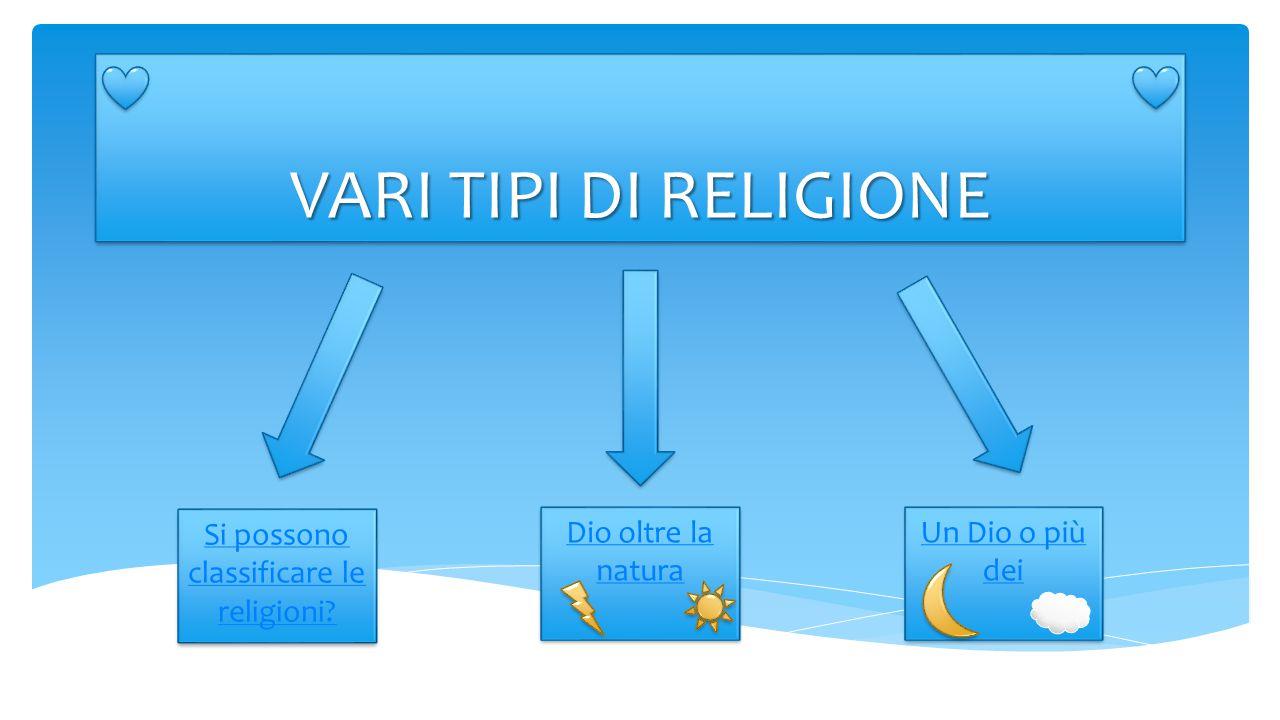 VARI TIPI DI RELIGIONE Si possono classificare le religioni? Si possono classificare le religioni? Dio oltre la natura Dio oltre la natura Un Dio o pi