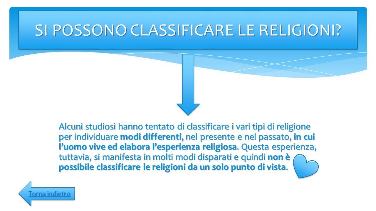 Alcuni studiosi hanno tentato di classificare i vari tipi di religione per individuare modi differenti, nel presente e nel passato, in cui l'uomo vive