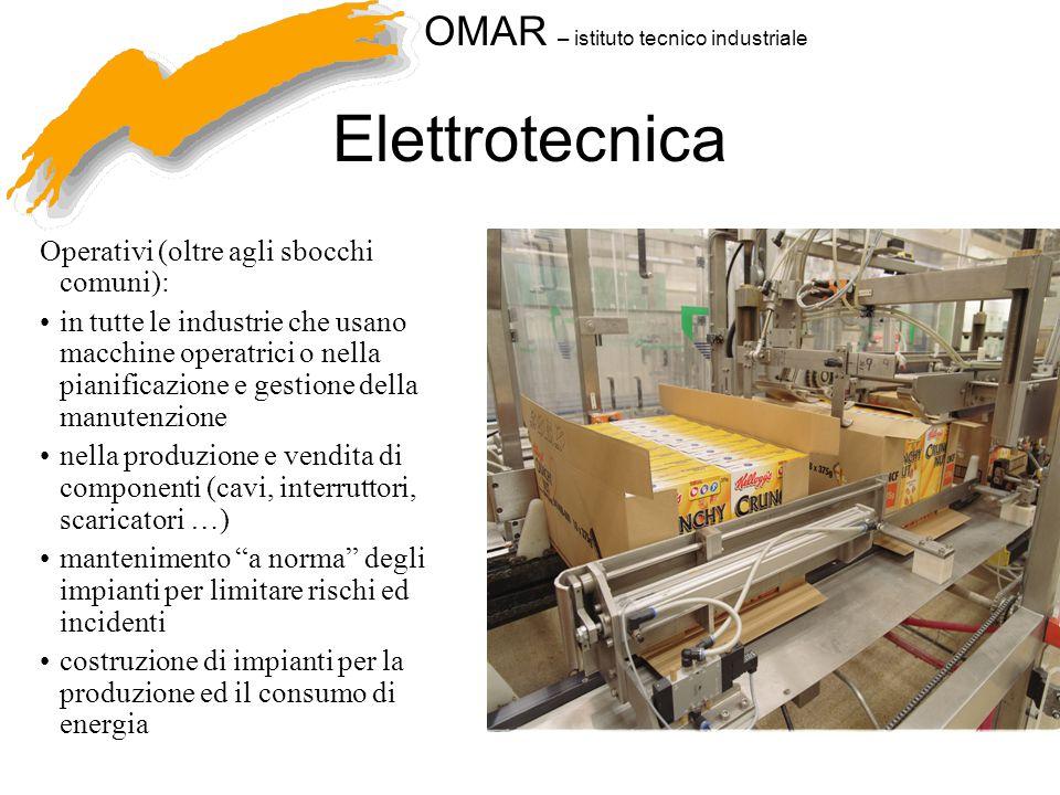 OMAR – istituto tecnico industriale Elettrotecnica Operativi (oltre agli sbocchi comuni): in tutte le industrie che usano macchine operatrici o nella