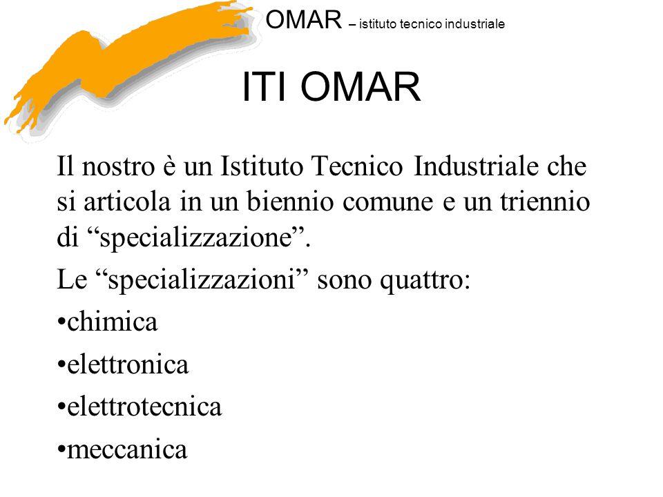 OMAR – istituto tecnico industriale ITI OMAR Il nostro è un Istituto Tecnico Industriale che si articola in un biennio comune e un triennio di specializzazione .