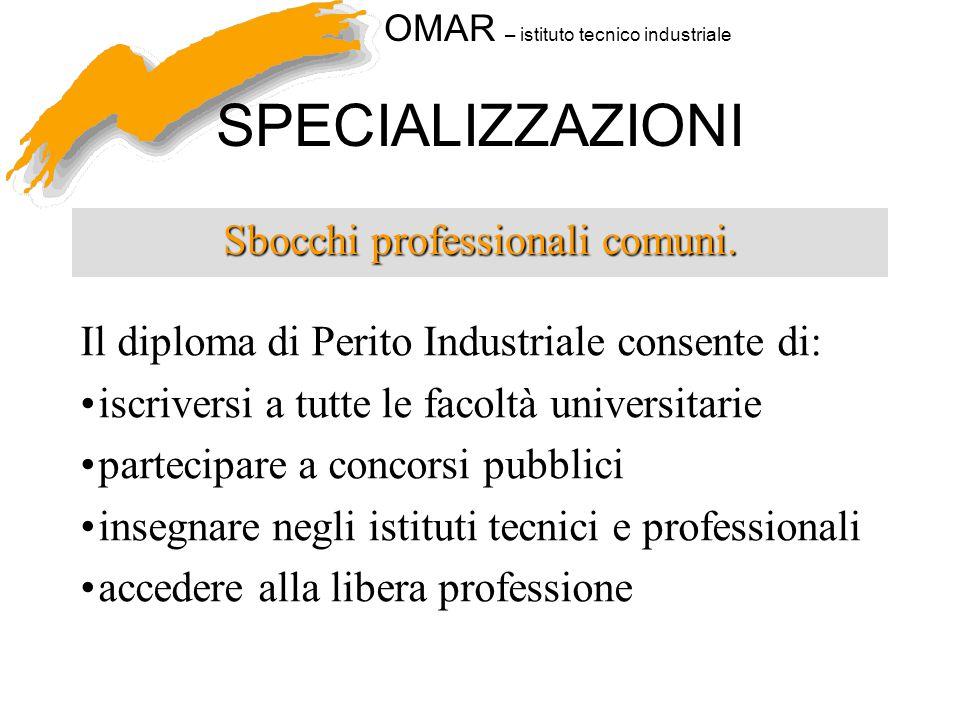 OMAR – istituto tecnico industriale SPECIALIZZAZIONI Sbocchi professionali comuni. Il diploma di Perito Industriale consente di: iscriversi a tutte le