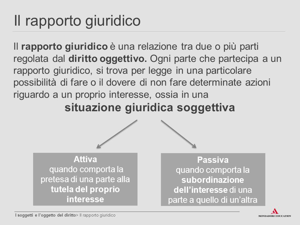 Il rapporto giuridico I soggetti e l'oggetto del diritto> Il rapporto giuridico Il rapporto giuridico è una relazione tra due o più parti regolata dal