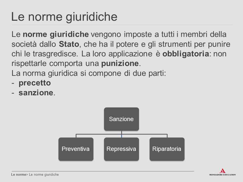 Le norme giuridiche Le norme> Le norme giuridiche Le norme giuridiche vengono imposte a tutti i membri della società dallo Stato, che ha il potere e g