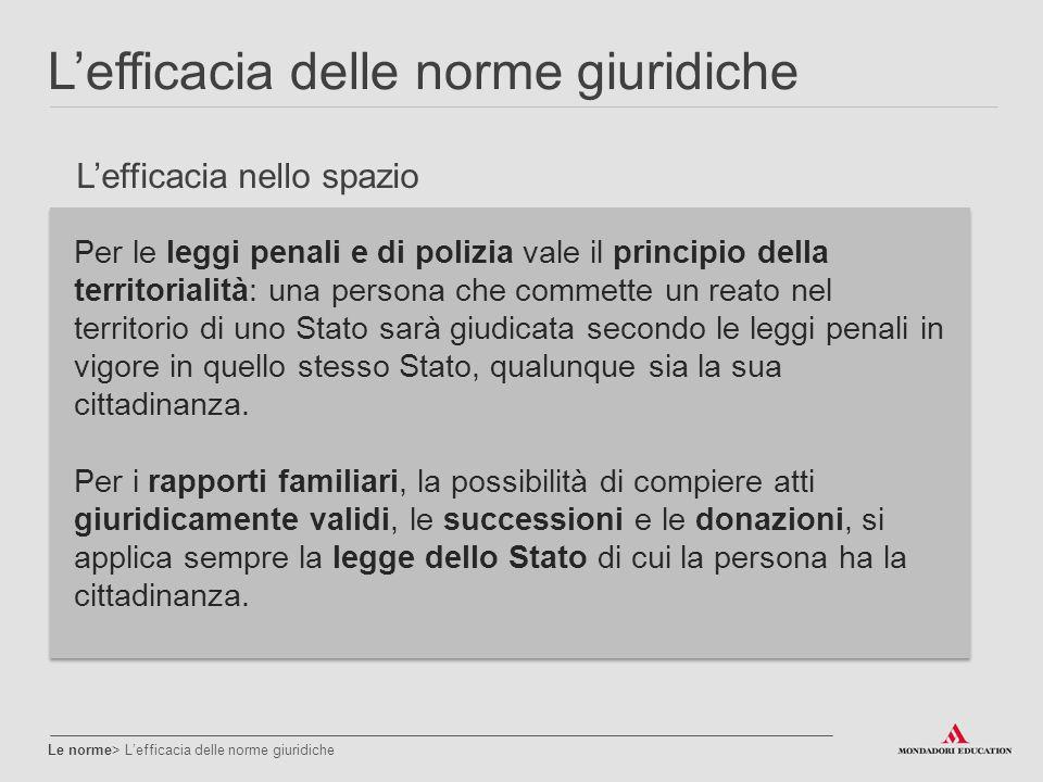 L'efficacia delle norme giuridiche Le norme> L'efficacia delle norme giuridiche Per le leggi penali e di polizia vale il principio della territorialit