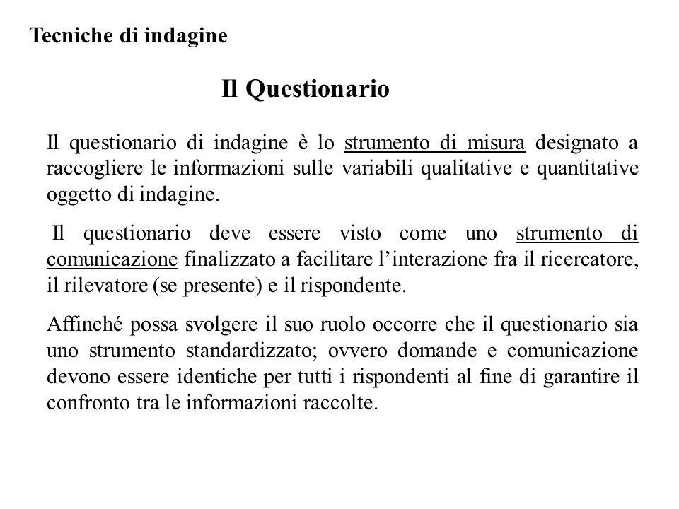 Il questionario di indagine è lo strumento di misura designato a raccogliere le informazioni sulle variabili qualitative e quantitative oggetto di indagine.