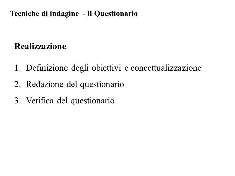1.Definizione degli obiettivi e concettualizzazione 2.Redazione del questionario 3.Verifica del questionario Realizzazione Tecniche di indagine - Il Questionario