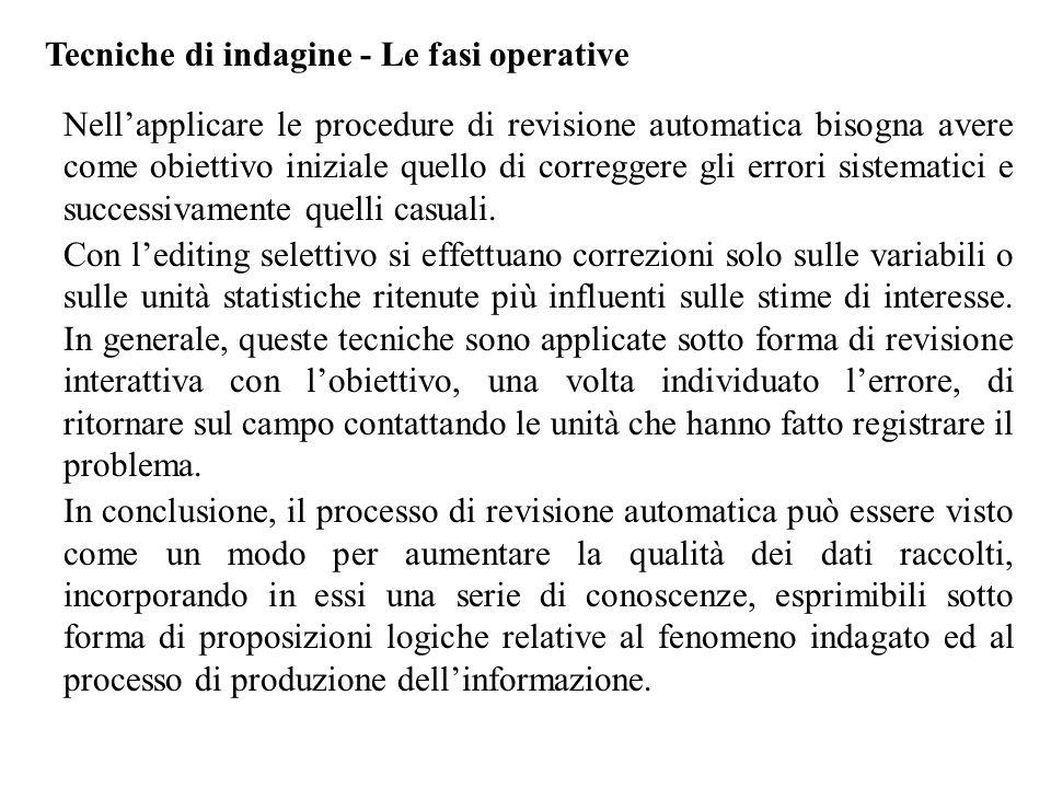 Tecniche di indagine - Le fasi operative Nell'applicare le procedure di revisione automatica bisogna avere come obiettivo iniziale quello di correggere gli errori sistematici e successivamente quelli casuali.