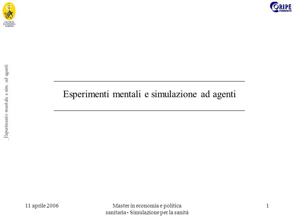 11 aprile 2006Master in economia e politica sanitaria - Simulazione per la sanità 1 _Esperimento mentale e sim. ad agenti ____________________________