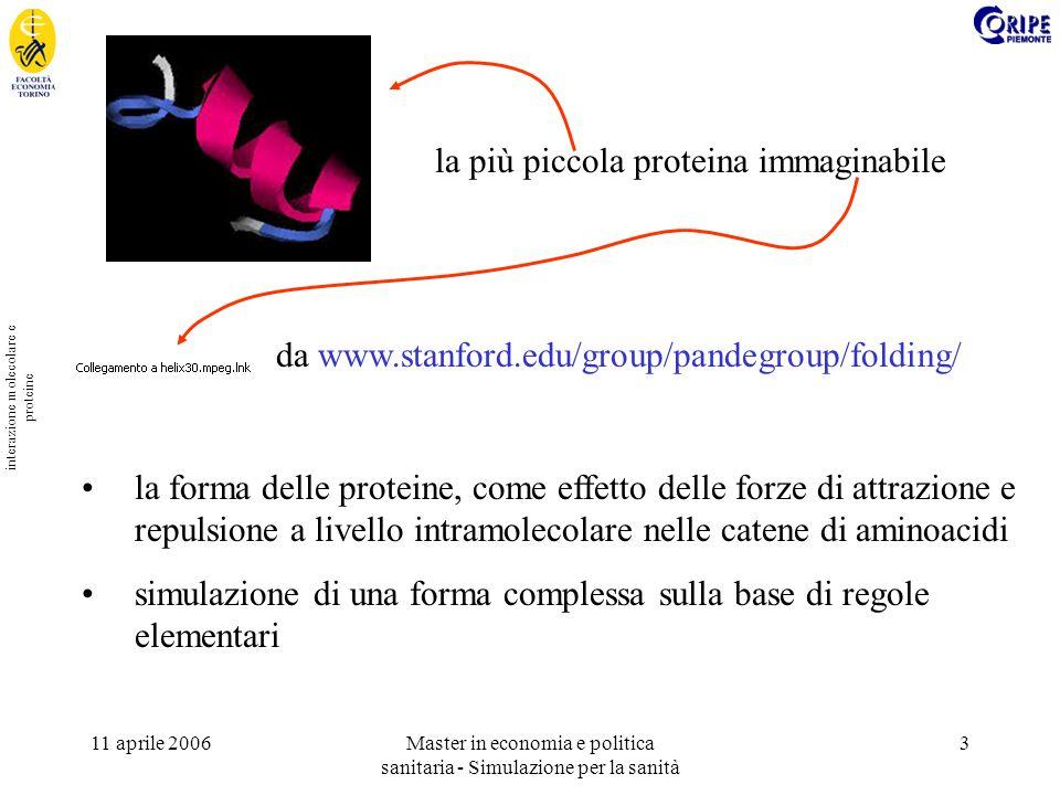 11 aprile 2006Master in economia e politica sanitaria - Simulazione per la sanità 3 interazione molecolare e proteine la forma delle proteine, come ef