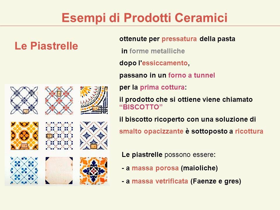 Esempi di Prodotti Ceramici ottenute per pressatura della pasta in forme metalliche dopo l'essiccamento, passano in un forno a tunnel per la prima cot