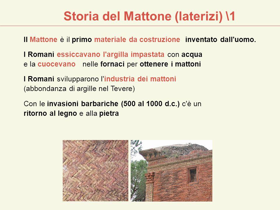 Il Mattone è il primo materiale da costruzione inventato dall'uomo. I Romani essiccavano l'argilla impastata con acqua e la cuocevano nelle fornaci pe
