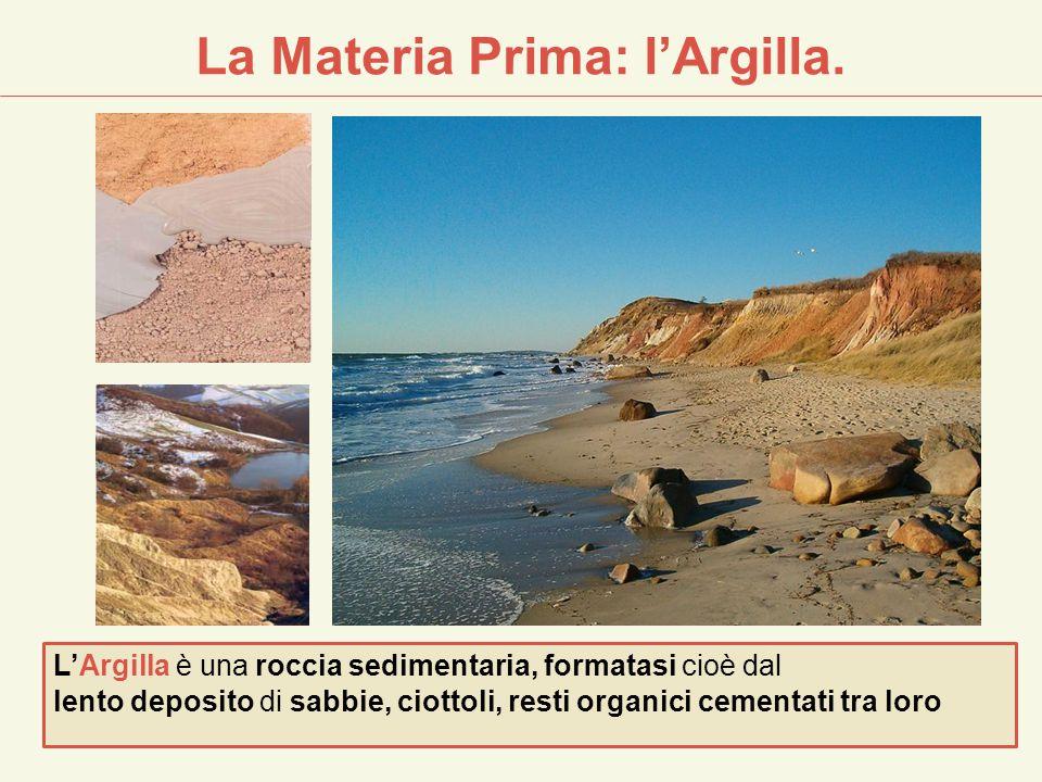 La Materia Prima: l'Argilla. L'Argilla è una roccia sedimentaria, formatasi cioè dal lento deposito di sabbie, ciottoli, resti organici cementati tra