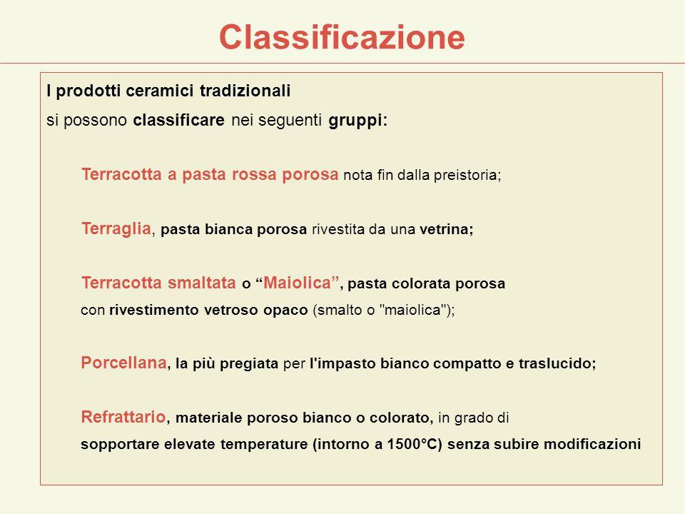 I prodotti ceramici tradizionali si possono classificare nei seguenti gruppi: Terracotta a pasta rossa porosa nota fin dalla preistoria; Terraglia, pa