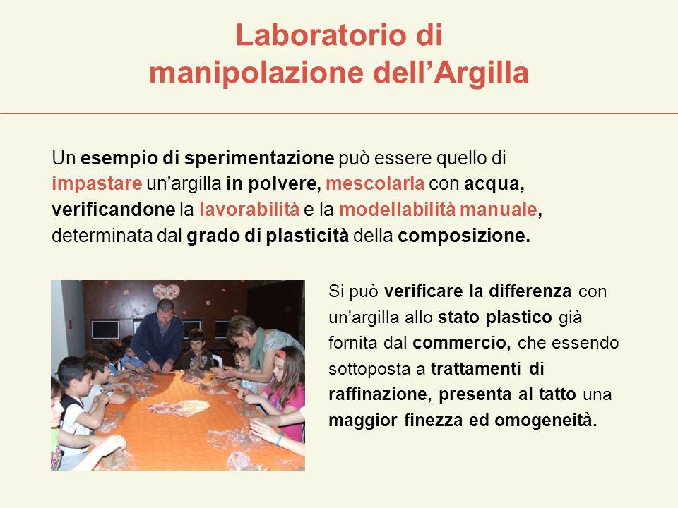 Laboratorio di manipolazione dell'Argilla Un esempio di sperimentazione può essere quello di impastare un'argilla in polvere, mescolarla con acqua, ve