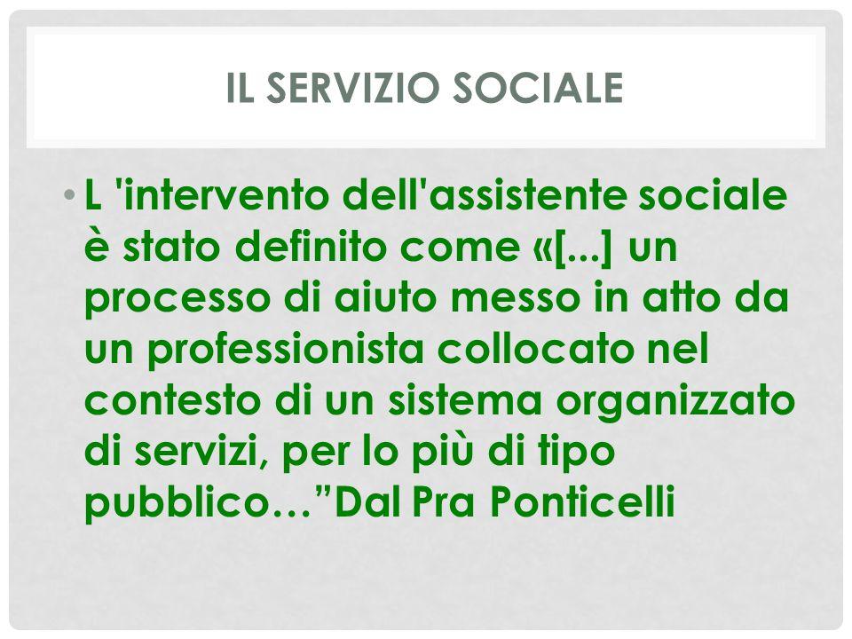 IL SERVIZIO SOCIALE L intervento dell assistente sociale è stato definito come «[...] un processo di aiuto messo in atto da un professionista collocato nel contesto di un sistema organizzato di servizi, per lo più di tipo pubblico… Dal Pra Ponticelli