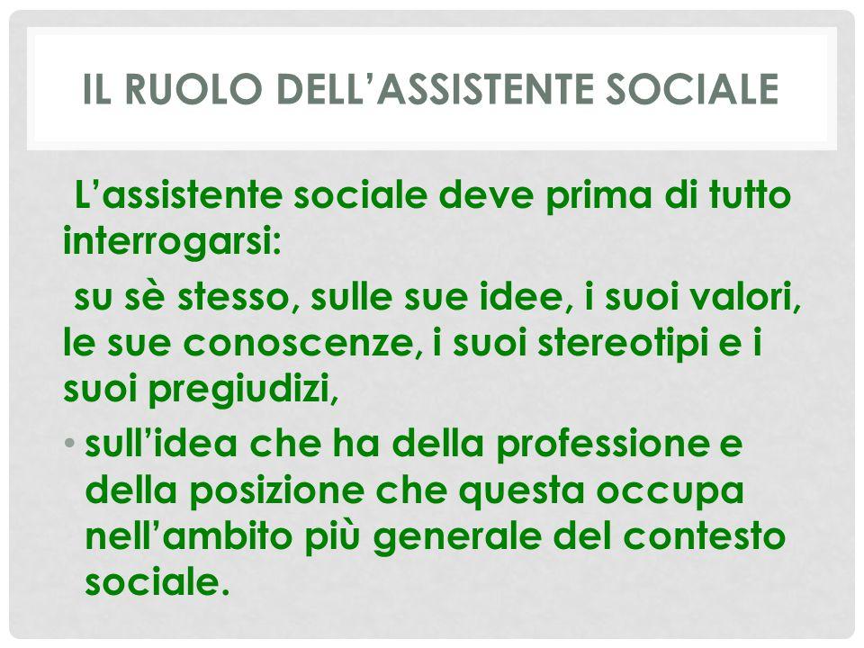 IL RUOLO DELL'ASSISTENTE SOCIALE L'assistente sociale deve prima di tutto interrogarsi: su sè stesso, sulle sue idee, i suoi valori, le sue conoscenze, i suoi stereotipi e i suoi pregiudizi, sull'idea che ha della professione e della posizione che questa occupa nell'ambito più generale del contesto sociale.