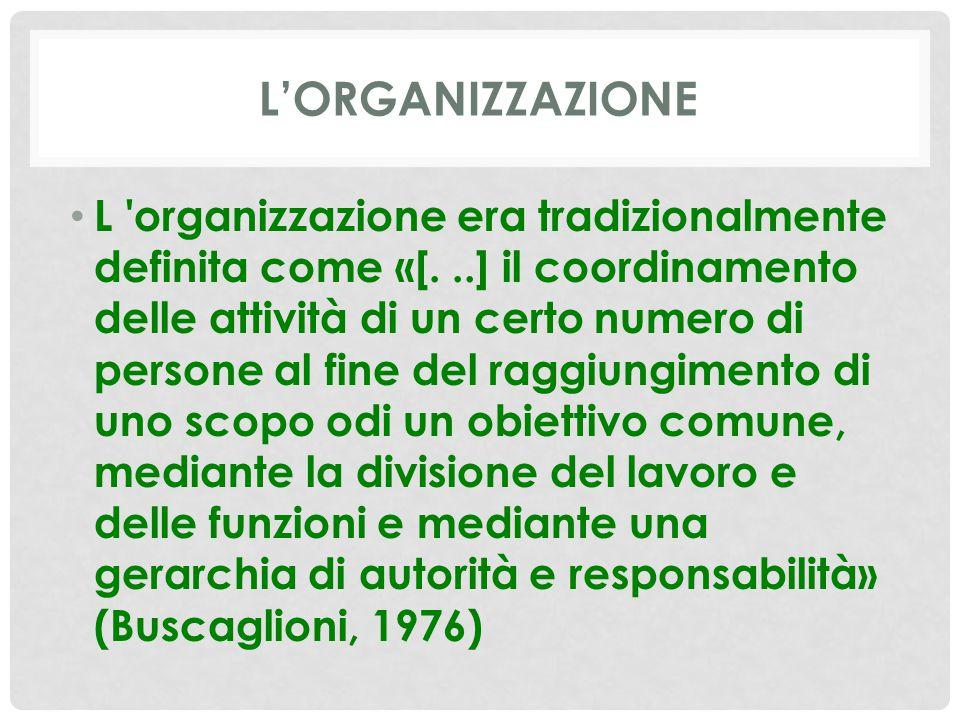 L'ORGANIZZAZIONE L organizzazione era tradizionalmente definita come «[...] il coordinamento delle attività di un certo numero di persone al fine del raggiungimento di uno scopo odi un obiettivo comune, mediante la divisione del lavoro e delle funzioni e mediante una gerarchia di autorità e responsabilità» (Buscaglioni, 1976)