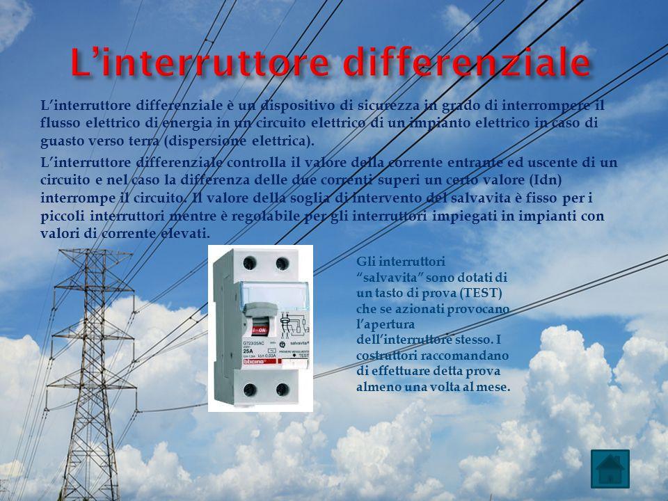 L'interruttore differenziale è un dispositivo di sicurezza in grado di interrompere il flusso elettrico di energia in un circuito elettrico di un impi