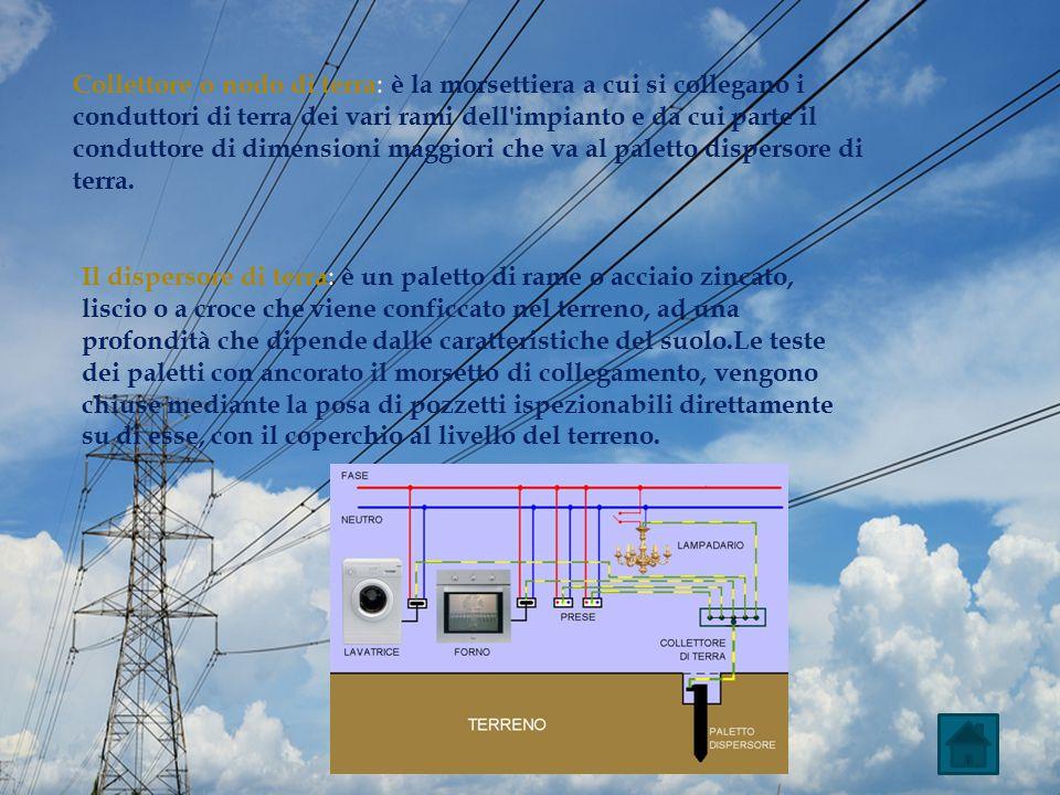 Collettore o nodo di terra : è la morsettiera a cui si collegano i conduttori di terra dei vari rami dell'impianto e da cui parte il conduttore di dim