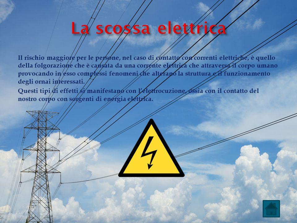 Il rischio maggiore per le persone, nel caso di contatto con correnti elettriche, è quello della folgorazione che è causata da una corrente elettrica