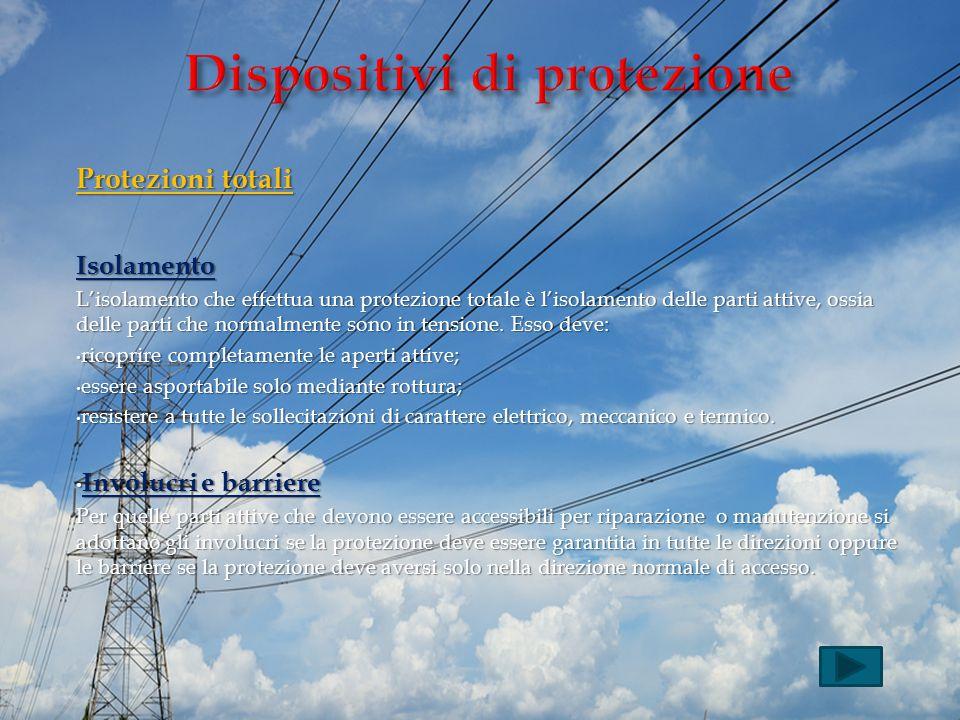 Protezioni totali Isolamento L'isolamento che effettua una protezione totale è l'isolamento delle parti attive, ossia delle parti che normalmente sono