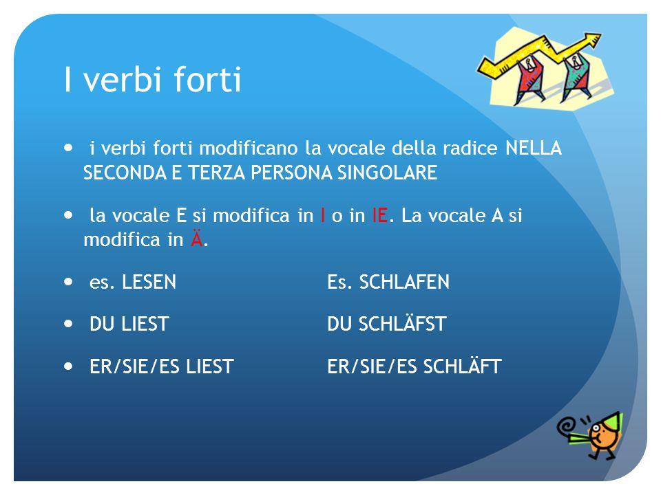I verbi forti i verbi forti modificano la vocale della radice NELLA SECONDA E TERZA PERSONA SINGOLARE la vocale E si modifica in I o in IE. La vocale