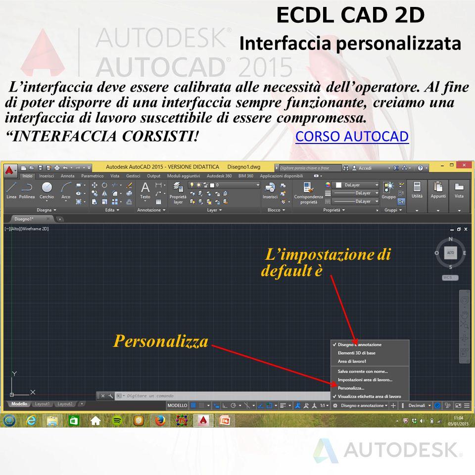ECDL CAD 2D Interfaccia personalizzata L'interfaccia deve essere calibrata alle necessità dell'operatore. Al fine di poter disporre di una interfaccia