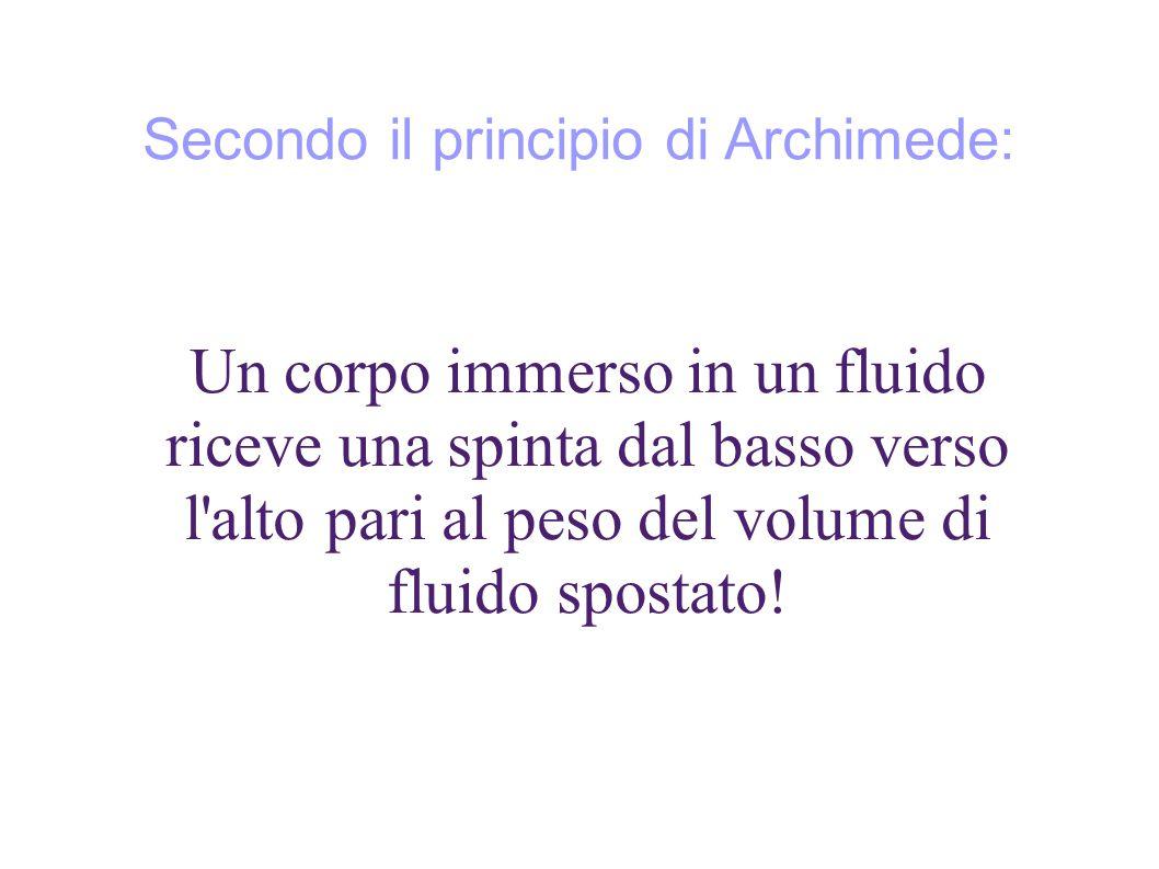 Secondo il principio di Archimede: Un corpo immerso in un fluido riceve una spinta dal basso verso l alto pari al peso del volume di fluido spostato!