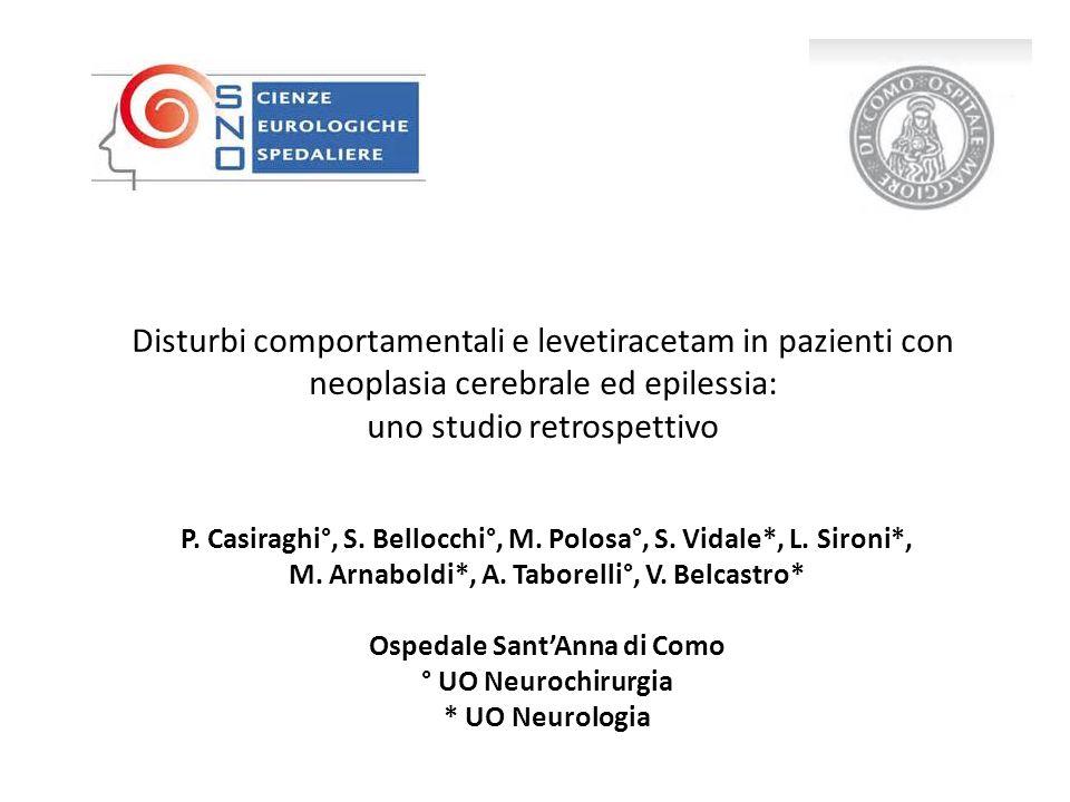 Disturbi comportamentali e levetiracetam in pazienti con neoplasia cerebrale ed epilessia: uno studio retrospettivo P.
