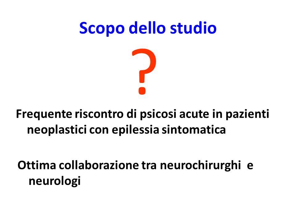 Scopo dello studio Frequente riscontro di psicosi acute in pazienti neoplastici con epilessia sintomatica .
