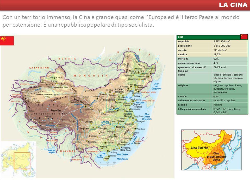 La Cina LA CINA Con un territorio immenso, la Cina è grande quasi come l'Europa ed è il terzo Paese al mondo per estensione. È una repubblica popolare