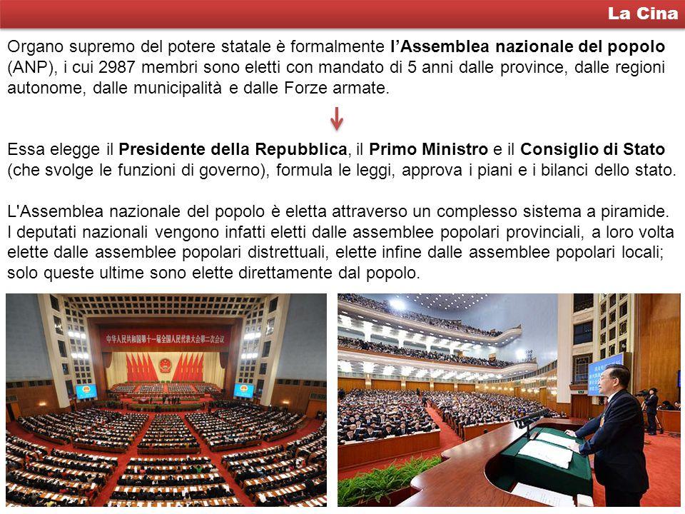 La Cina Organo supremo del potere statale è formalmente l'Assemblea nazionale del popolo (ANP), i cui 2987 membri sono eletti con mandato di 5 anni da
