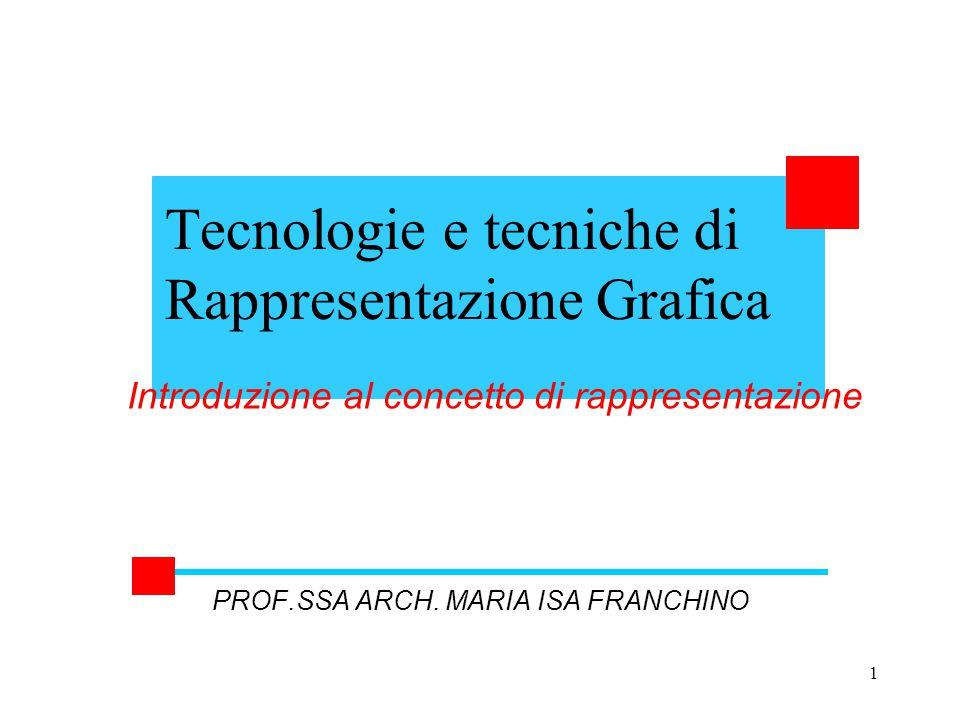 1 Tecnologie e tecniche di Rappresentazione Grafica PROF.SSA ARCH. MARIA ISA FRANCHINO Introduzione al concetto di rappresentazione